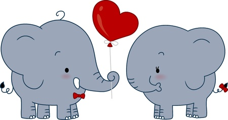 Illustration of a Male Elephant Giving a Balloon to a Female Elephant illustration