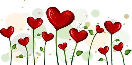 flowers cartoon: Illustration of Abstract Heart-shaped Flowers in a Field