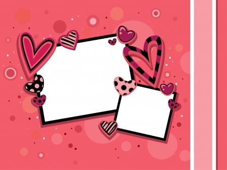Illustration of Valentine Frames Against a Pink Background illustration