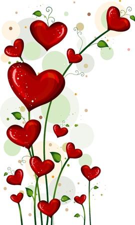 hartje cartoon: Illustratie van planten met hart-vormige bloemen Stockfoto
