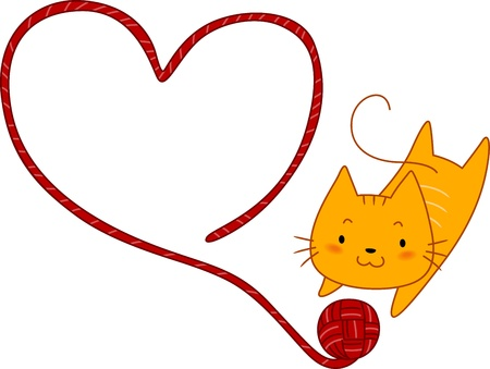 Illustration of a Cat Playing with a Ball of Yarn Stock Photo