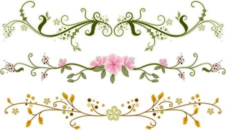 bordure vigne: Illustration des ornements floraux avec diff�rents mod�les