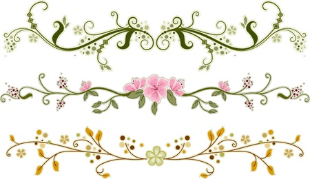 border cartoon: Illustration of Floral Ornaments with Different Designs Stock Photo