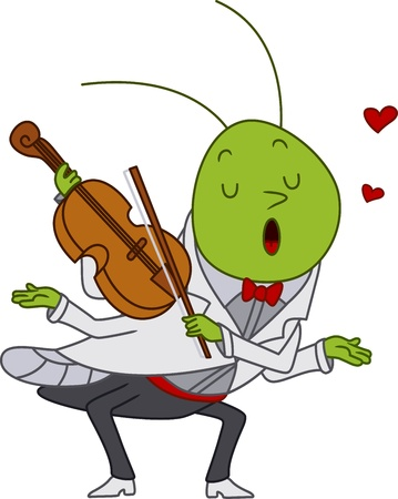serenade: Illustration of a Grasshopper Playing the Violin Stock Photo
