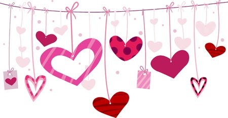 miscellaneous: Illustration of Miscellaneous Heart Designs Hanging From a Clothesline