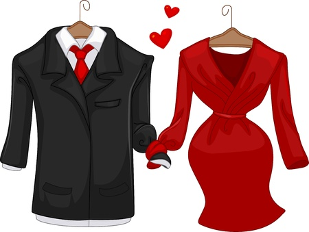 formalwear: Illustration of a Pair of Formal Attire for Men and Women Stock Photo