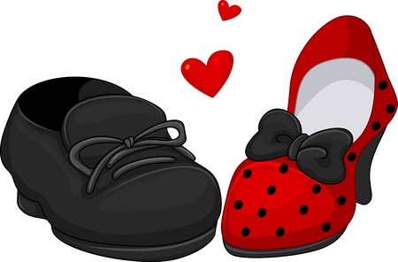 Illustration of a Pair of Shoes for Men and Women illustration