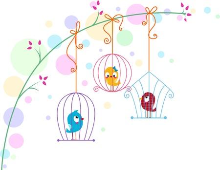 Illustration of Lovebirds in Different Cages illustration