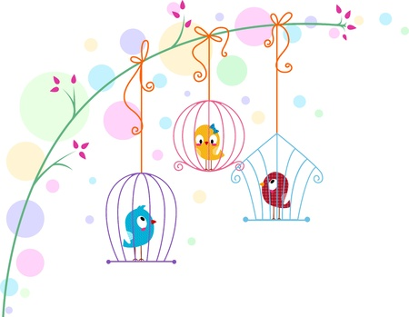 lovebirds: Illustration of Lovebirds in Different Cages Stock Photo