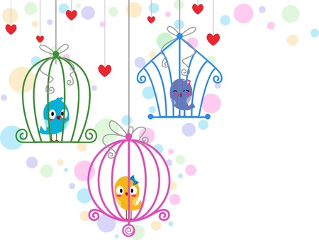 tweeting: Illustration of Lovebirds in Different Cages Stock Photo
