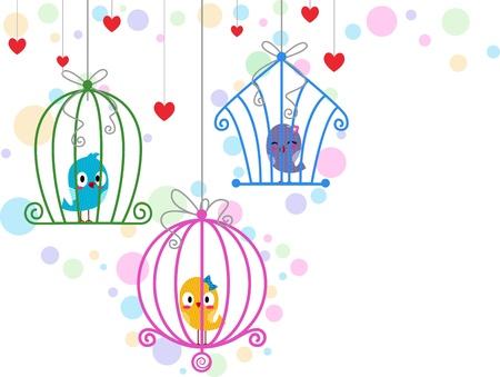 serenata: Ilustraci�n de Agapornis en jaulas diferentes