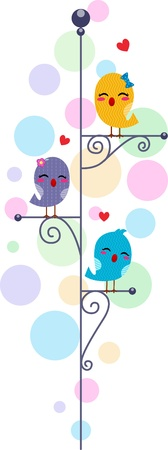 chirp: Illustration of Lovebirds Perched on a Lamppost