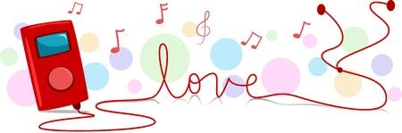 Ilustración de un reproductor de música con su cable formando la palabra amor Foto de archivo - 8777745