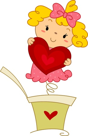 Illustration of a Pop-up Doll Holding a Heart illustration