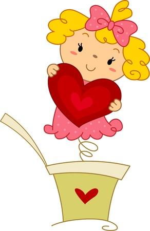 Illustration of a Pop-up Doll Holding a Heart illustration