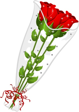 cartoon bouquet: Illustration of Three Red Roses Wrapped in Plastic