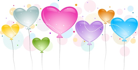 heartshaped: Illustration of Heart-shaped Balloons in Different Colors Stock Photo