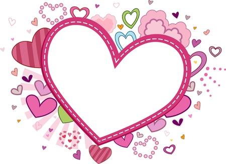 Valentine-themed Frame Featuring genähte Herz Standard-Bild - 8777779