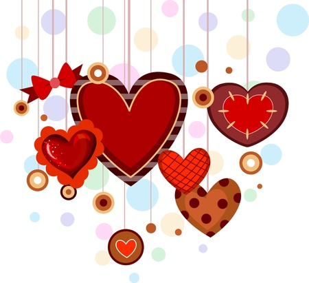 dangling: Illustration of Hearts with Different Sizes and Designs
