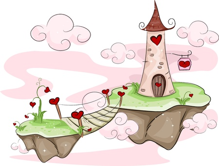 floating island: Illustration of Floating Love Islands with a Tower and Bridge Stock Photo