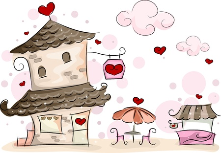establishment: Illustration of a Valentine-themed Coffee Shop