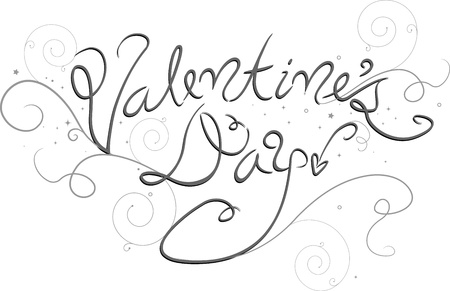 cursive: Fancy Lettering of the Words Valentines Day