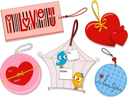 Illustration of Different Tags with a Valentine Theme illustration