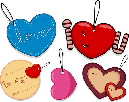 tags: Illustration of Different Tags with a Valentine Theme