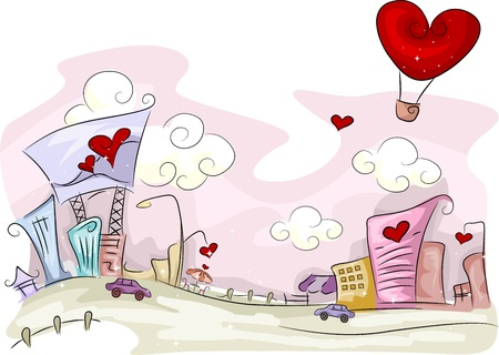 love cartoon: Illustration of an Urban Scene with a Valentine Theme