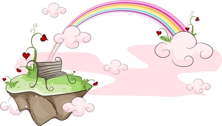 Illustration of an Island with a Rainbow in the Background Stock Illustration - 8777770