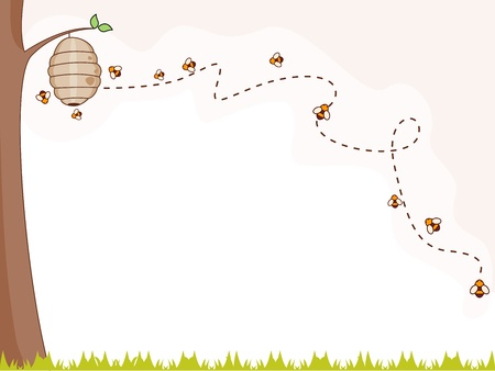 bee swarm: Illustration of a Group of Bees Flying Around a Beehive for Background Stock Photo