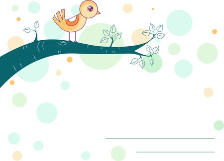 perched: Illustration of a Bird Perched on the Branch of a Tree for Background