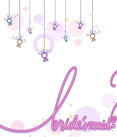 Illustration of a Card Design with the Word Bridesmaid Written on it Stock Illustration - 8906246