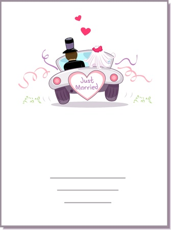 wedding backdrop: Illustration of a Wedding Car Driving Away