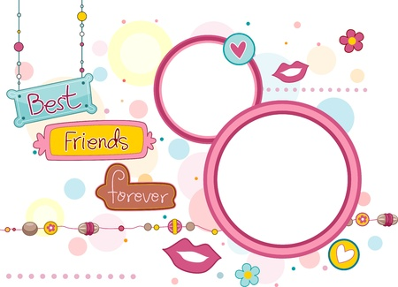 Illustration of Frames and Signboards Featuring the Words Best Friends Forever Stock Illustration - 8906425