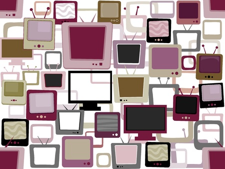 idiot box: Illustration of a Seamless Background Featuring Televisions Stock Photo