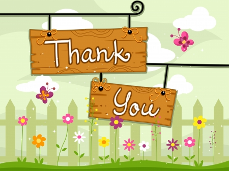 thank you card: Illustration of Signboards with the Words Thank You Written on Them