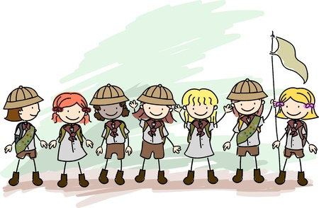 Illustration of Girl Scouts in a Line illustration