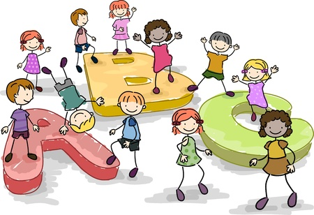 chums: Illustration of Kids Playing with Giant Letters of the Alphabet