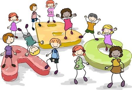 playmates: Ilustraci�n de ni�os jugando con gigante letras del alfabeto