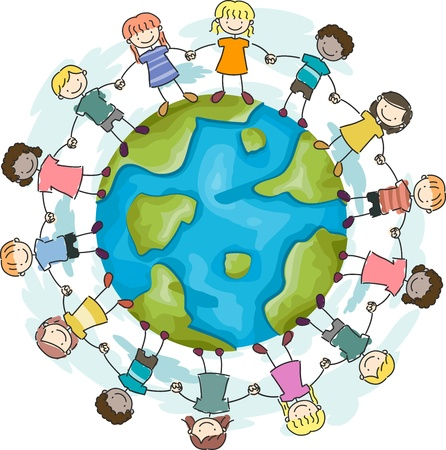 Illustration of Kids Joining Hands to Protect the Earth Stock Illustration - 8906123