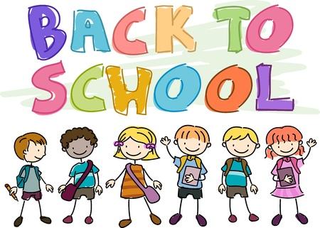 school bag: Regreso a la escuela Doodle con ni�os vistiendo escuela Gear