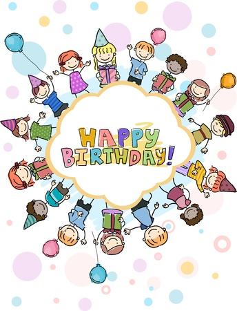 kids birthday party: Illustration of Birthday Doodles Featuring Kids Surrounding a Birthday Greeting Stock Photo