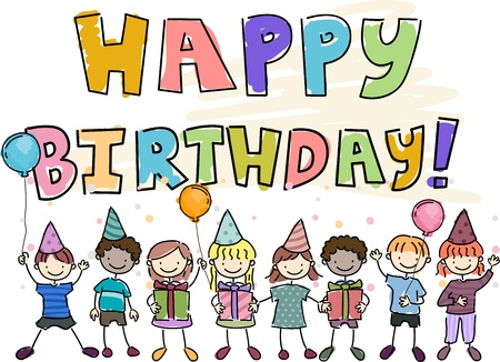 chums: Illustration of a Birthday Doodle Featuring Kids Holding Gifts and Balloons