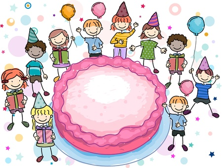 Illustration of a Birthday Doodle Featuring Kids Surrounding a Large Cake Stock Illustration - 8906519