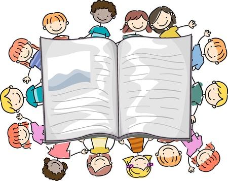 bambini che leggono: Illustrazione di ragazzini che circondano un grande libro Archivio Fotografico