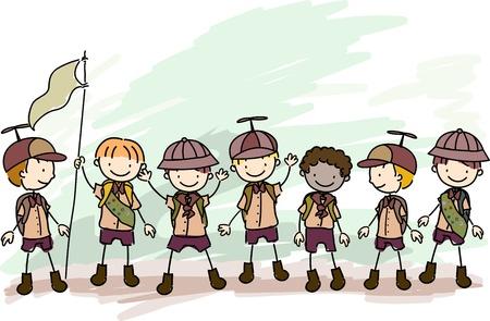 campsite: Illustration of Boy Scouts in a Campsite
