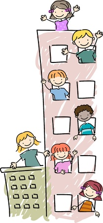 chums: Illustration of Kids Peeking Out of their Apartment Units Windows Stock Photo