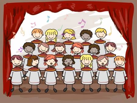 Illustration of a Childrens Choir Performing on Stage illustration