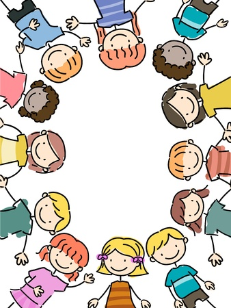 playmates: Ilustración de niños mentir juntas Foto de archivo